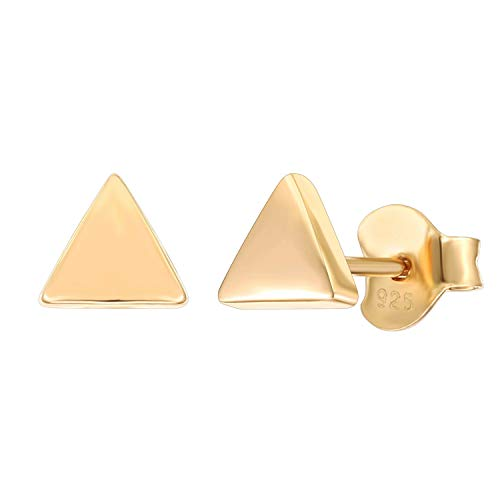 PAVOI 14K Gold Plated 925 Sterling Silver Earrings | Tiny Triangle Stud Earrings | Yellow Gold Stud Earrings for Women