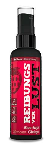 REIBUNGSverLUST Fresa - lubricante a base de agua con sabor (100ml) - comestible, rico, no se pega, Efecto a base de agua a largo plazo, adecuado para todos los juguetes sexuales, lubricante sexual
