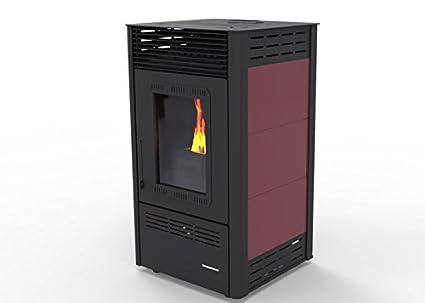 Estufa de Pellet Aire - VIOLET kW 6.5, bio eficiencia clase energética A+ eco calefacción y bioclimatismo sostenible y durable calentar casa, color burdeos ...