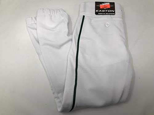 (Easton Boys' Youth Pro Plus Baseball Pants (White/Dark Green, Youth Large) )