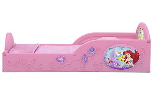 Delta Children Deluxe Character Toddler Bed with Attached guardrails, Featuring Frozen and Princess 5