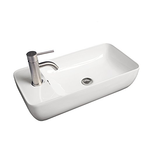 Whitehaus Collection WHKN1015A Isabella Collection Mount Basin with Integrated Rectangular Bowl and a Center Drain, White