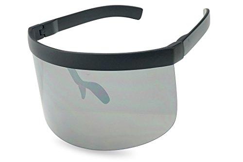 Matte Black Retro Futuristic Single Shield Color Oversized Visor Sunglasses (Matte Black, Silver - Visor Sun Glasses
