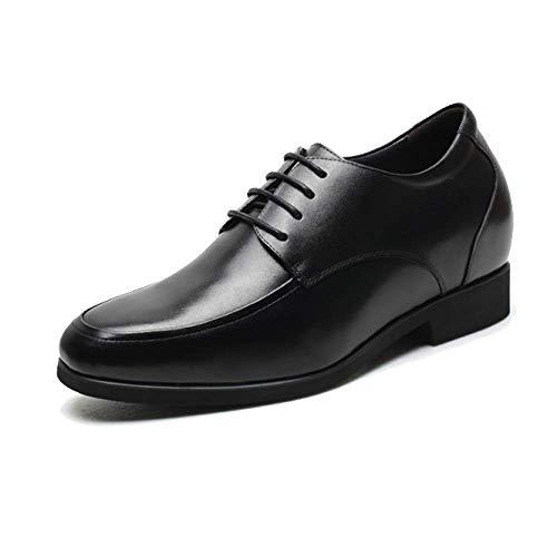 Scarpe in Pelle da Uomo Primavera Scarpe Stringate con Rialzo Interno Testa Rotonda Business Leisure Black