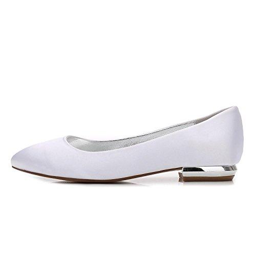 Femmes Satin Soie Shoes Orteil white 17 Fermé L Head Chaussures Plates Low Pour Chaussures en de YC de Court Mariage Round F5049 qCx0zXU
