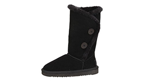Flojos Womens Cember Two Button Suede Faux Fur Lined Tall Winter Boot (7, Black)