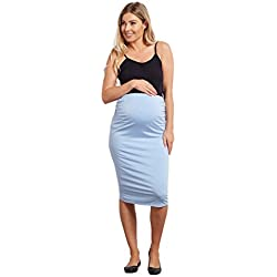 PinkBlush Maternity Light Blue Fitted Maternity Pencil Skirt, XL
