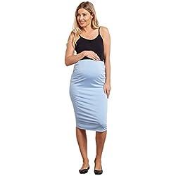 PinkBlush Maternity Light Blue Fitted Maternity Pencil Skirt, XL