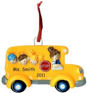 (Personalized Lady School Bus Driver Christmas Ornament)