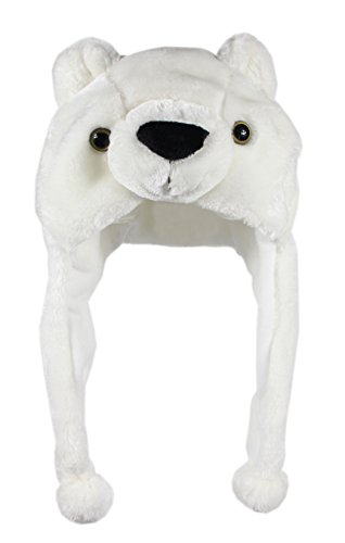 Bioterti Plush Fun Animal Hats –One Size Cap - 100% Polyester with Fleece Lining (White Bear) ()