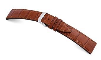 RIOS1931 Uhrenarmband Echt Alligator Fullcut Cognac Bandanstoss 19 mm