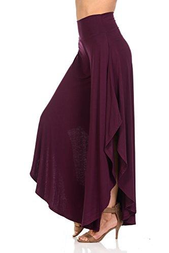 JDJ CO. Women's Layered Wide Leg Flowy Cropped Palazzo Pants, 3/4 length High Waist Palazzo Wide Legs Capri Pants(Medium,Plum) (Medium Plum)