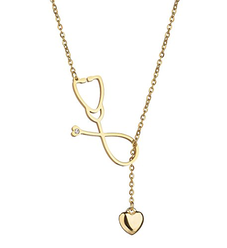 SXNK7 Stainless Steel Gold Silver Heartbeat Cardiogram ECG Pendant Stethoscope Chokers Necklace (Gold Stethoscope Necklace) ()