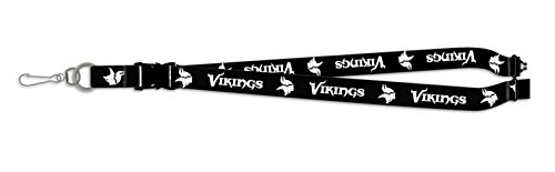 Minnesota Vikings BLACKOUT VERSION Deluxe 2-sided Lanyard Breakaway Clip w/J-Hook Keychain Football ()