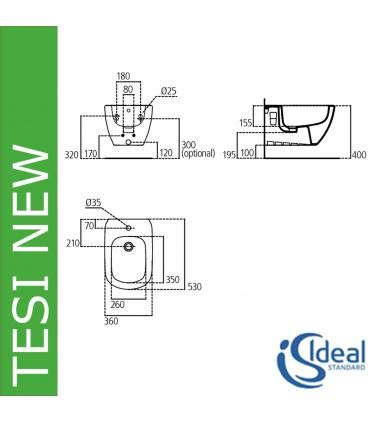 Ideal Standard bidet t355201/ /susp Tesi fixation cach/ée