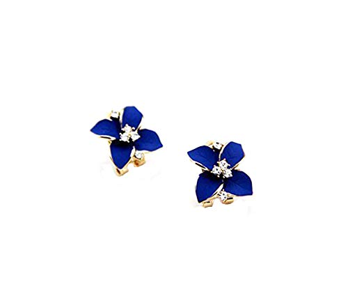 South Korean Imports of Noble Navy Blue Frosted Retro the Camellia Flower Diamond Stud Earrings Ear Buckle Accessories Women