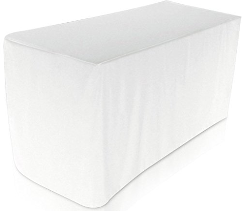 Fitted Tablecloth - 6 Feet - Rectangular Table Cover - Fitted 30 by 72 inches - 100 Percent Polyester - by Utopia Kitchen (white) (Fitted Polyester Tablecloth 6')