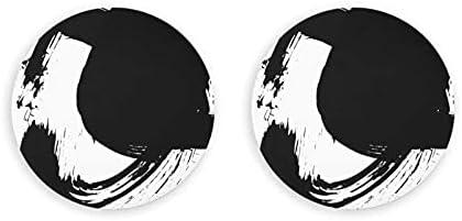 Abrebotellas, Fondo texturizado Pincel de tinta negra Girar Salpicaduras Abridores de vino, Imanes de nevera, Sacacorchos 2 piezas