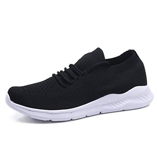 EXEBLUE Men's Casual Gym Shoes Mesh Lightweight Walking Running Sneakers Black