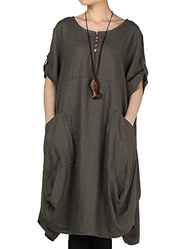 (LaovanIn Women's Plus Size Tunic Dress Summer Cotton Linen T Shirt Knee-Length Dresses Large Green)