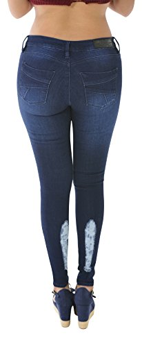 Apple Bottoms Denim Jeans (Blue Low Rise Ripped Skinny Jeans for women - Pantalones Colombianos levanta Cola Jeans Curvify 2465 (2465-6-FWR))