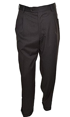 Kirkland Signature Mens Wool Gabardine Pleated Dress Slack Pant (48W x 38L (unfinished hem) Charcoal Twill)