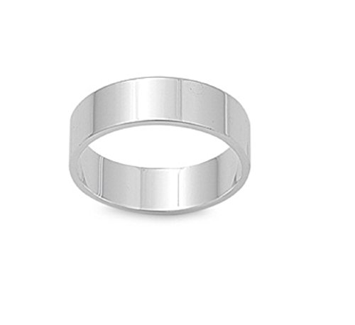 (CloseoutWarehouse Sterling Silver Flat Cigar Plain Wedding Band Ring Size 6)