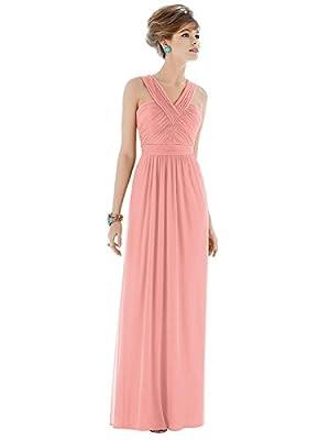 Forever Alfred Sung Style D678 Floor Length Chiffon Shirred Skirt Formal Dress - Sleeveless Halter Neck