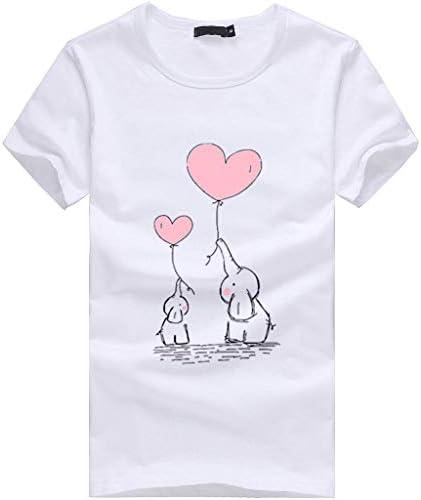Zimuuy damska koszulka z krÓtkim rękawem dla kobiet ze wzorem słonia nadruk t-shirt lato prosty kolor pełny krÓtkie rękawy bluzka topy: Odzież