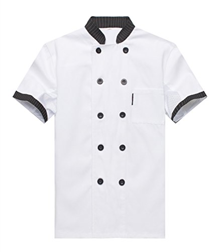 Chef Jackets Waiter Coat Short Sleeves Underarm Mesh Size L (Label:XXL) White by WAIWAIZUI (Image #3)