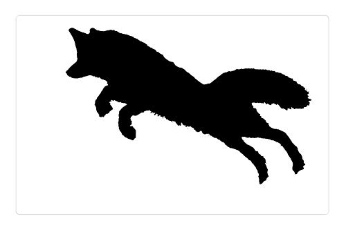Tree26 Indoor Floor Rug/Mat (23.6 x 15.7 Inch) - Silhouette Fox Jump Animal Wildlife Clipart