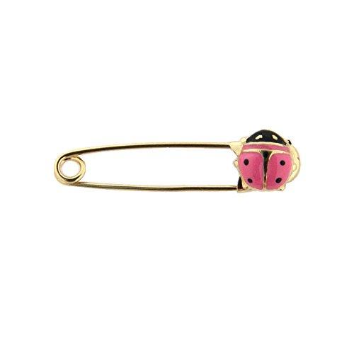 18K Yellow Gold Pink Lady Bug Safety Pin (27mm x 5mm) by Amalia