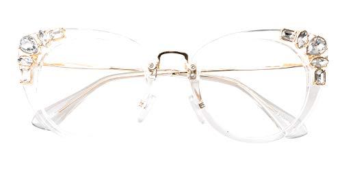 (SOOLALA Womens Luxurious Colorful Rhinestone Cateye Reading Glasses Eyeglass Frame, Trans, 2.0)