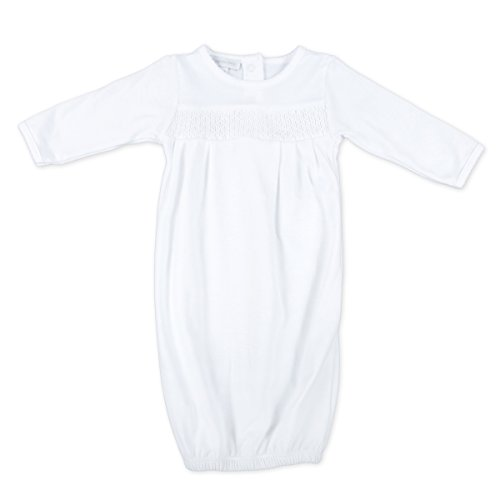 Magnolia Baby Unisex Baby MB Essentials Smocked Gown Solid White Newborn
