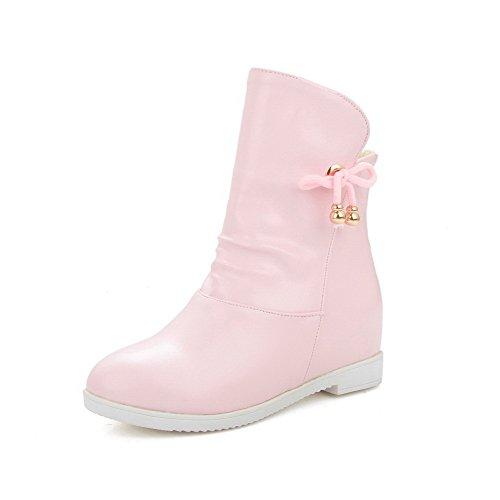 AllhqFashion Damen Rein PU Leder Mittler Absatz Ziehen auf Rund Zehe Stiefel, Pink, 33