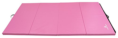 Alpha Mats Folding Gymnastics and Exercise Mat, PU Material & EPE Foam, Perfect for Aerobics, Yoga, Martial Arts, Pink, 4'x8'x2″