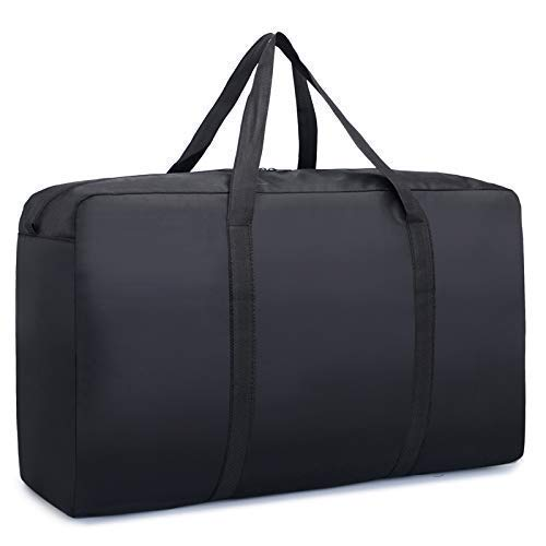 - Heavy Duty Waterproof Large Carrying Bag Oversized Storage Bag Reusable Blanket Laundry Bag, Duffle Weekender Moving (Black)