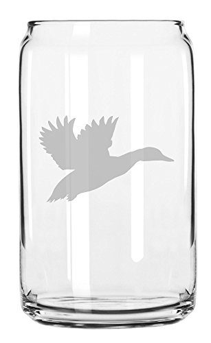 Flying Duck Design - Flying Duck Hunting Style Hand Made Etched Glass Can 16 oz