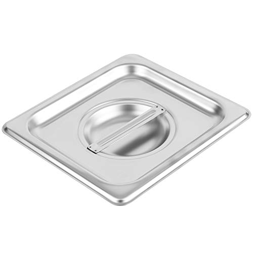 (1/6 Size Stainless Steel Solid Steam Table Pan Cover, Pan Lids, Non-Stick Surface, Lid for 1/6 Size Steam Pans with Handle)