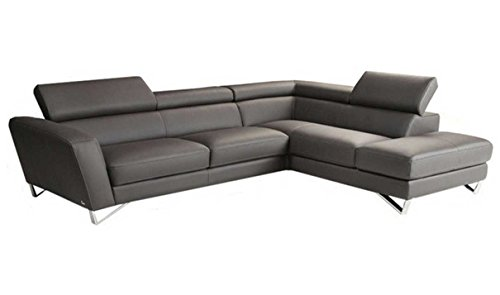 J&M Furniture Sparta Grey Italian Leather sectional Right Hand ()