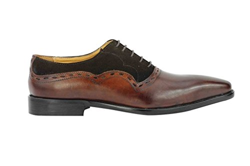 - Mens Brown Black Real Suede Leather Vintage Italian Style Oxford Lace up Shoes[HY11-8,UK 8 EU 42,Coffee]