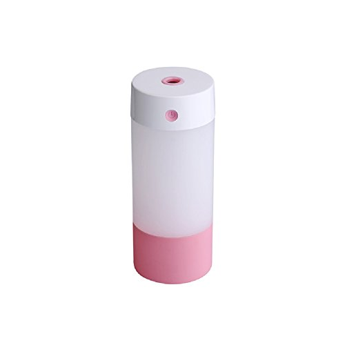 Cool Mist Ultrasonic Humidifier, 250ML USB Portable Mist Air Mini Humidifier-Quiet Operation, Automatic Shut Down, Night Light Function For Office Home Bedroom Car (Pink-250ML)