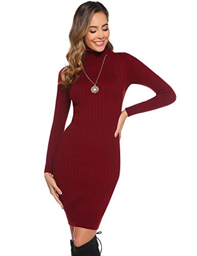 Abollria Womens Turtle Neck Long Sleeve Chunky Cable Knitted Bodycon Knitted Jumper Knitwear Sweater Dress
