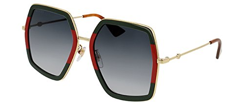 Gucci GG 0106 S- 007 GREEN / GREY GOLD Sunglasses (Sunglasses Gucci)