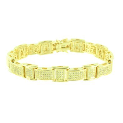 Amazon Yellow Gold Finish Bracelet Mens Canary Lab Diamonds
