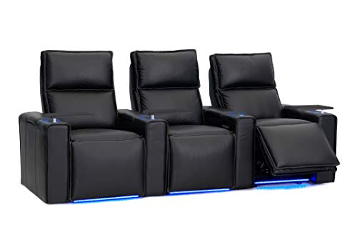 Octane Pillow Leather Power Headrest & Power Recline Home Theater Recliners, Black (Set of 3) ()