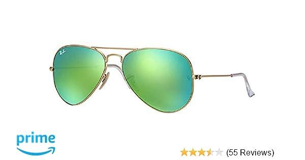 6579f28b06 Amazon.com  Ray Ban Aviator Sunglasses RB3025 112-19 Matte Gold Frame