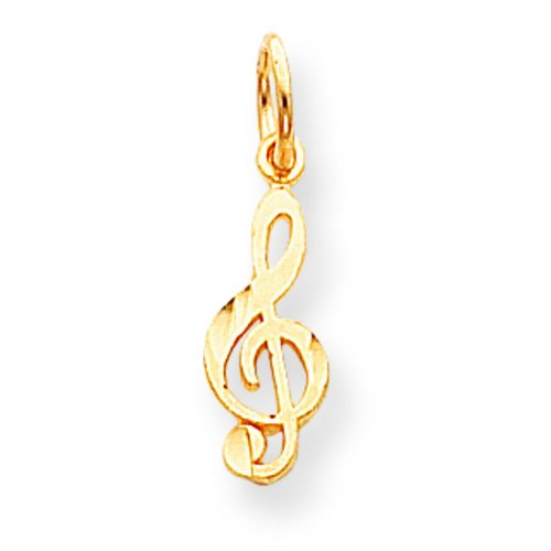 - 10K Gold Treble Clef Music Note Charm Musical Jewelry