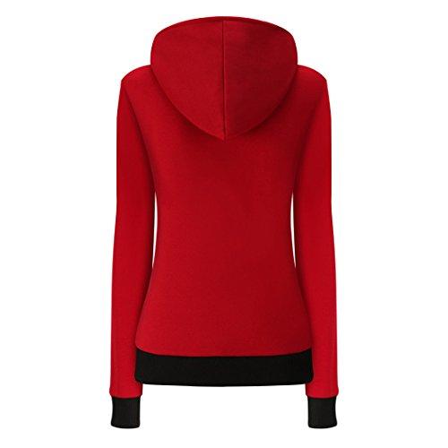 Long Tops Outwear Daily Autumn Solid Red Winter Moonuy Overcoat Velvet Ladies Jacket Gym Christmas Parka Caual Hoodie Jumpers Hoody Girl Ladies Sleeve Coat Fashion Gift Womens Warm qwgI8OTn