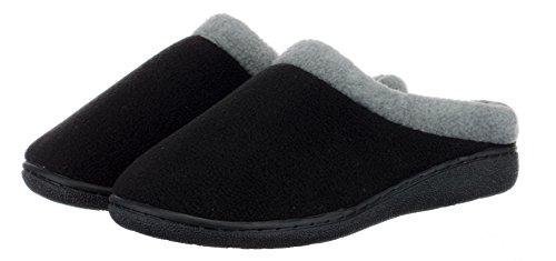 BRANDSSELLER Damen Hauspantolette Hausschuh Pantoffel Schlupp - Memory Foam Innensohle und TPR-Sohle - Farbe: Schwarz - Größen: 40